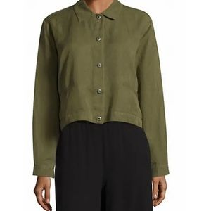 Eileen Fisher  Olive Green Tencel Linen Classic Collar Cropped Jacket Size XL